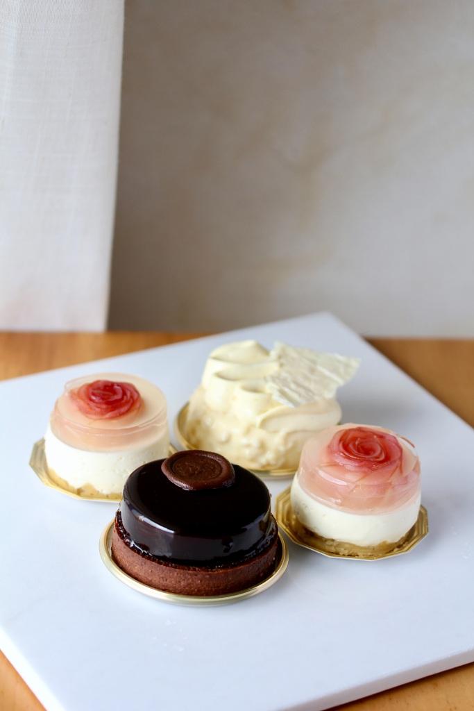 Chocolate hazelnut tart, apple rose cheesecake and vanilla mousse cake. Singapore l Bake sale l Wild Reverie, by Amanda