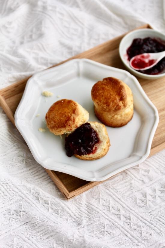 English scones with Cherry Jam on tray | Wild Reverie, by Amanda